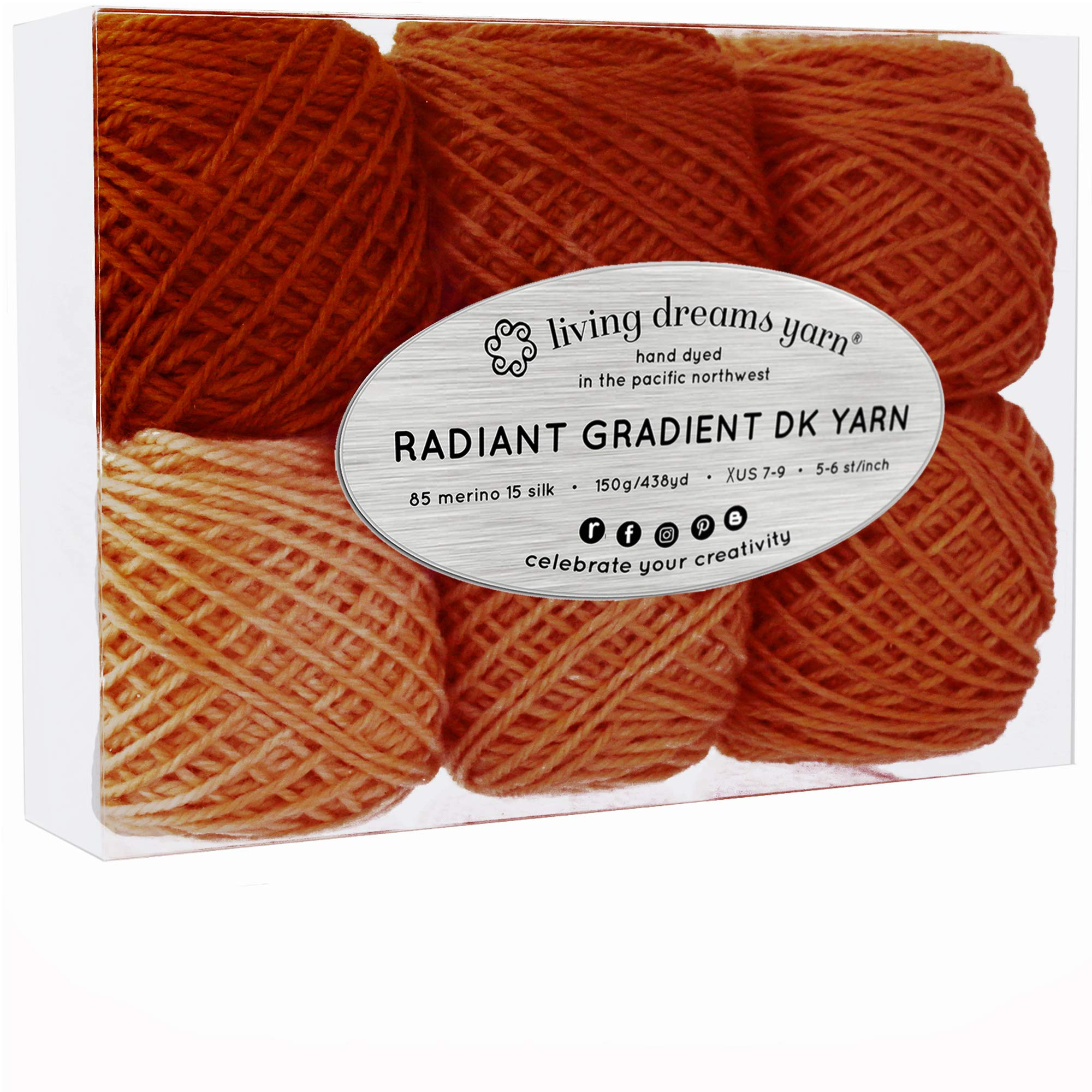 Living Dreams Radiant Gradient DK Yarn. Super Soft Merino Silk. USA Hand Dyed: Saffron Spice
