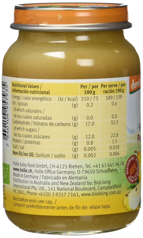 Holle Potito de Pera y Albaricoque (+4 meses) - Paquete de 6 x 190 gr - Total: 1140 gr: Amazon.es: Alimentación y bebidas