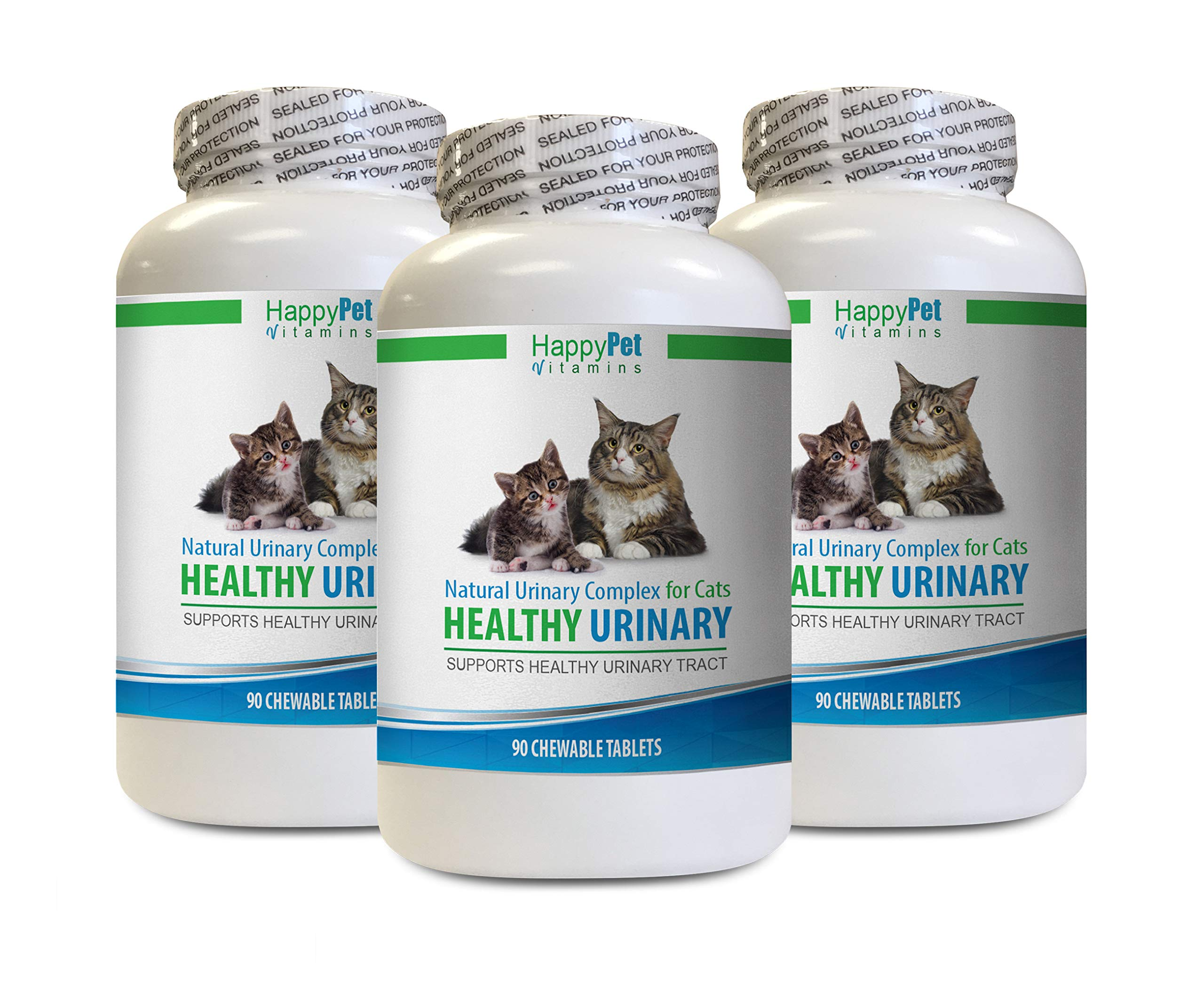 HAPPY PET VITAMINS LLC cat Urinary Support - CAT Healthy Urinary Complex - UTI Solution - Natural Formula - Anti INFLAMMATORY - cat Urinary Health Treats - 3 Bottles (270 Tablets) by HAPPY PET VITAMINS LLC