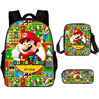 LIJUNQI Super Mario rugzak voor jongens, tieners meisjes rugzak kinderen Super Mario Bros schooltassen Lunch Bags…