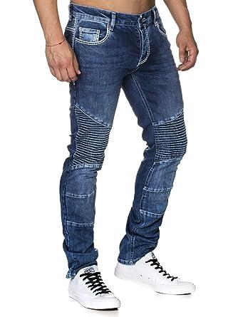 03cba77ae303e Tazzio Slim Fit Herren Biker Look Stretch Jeans Hose Denim 16528