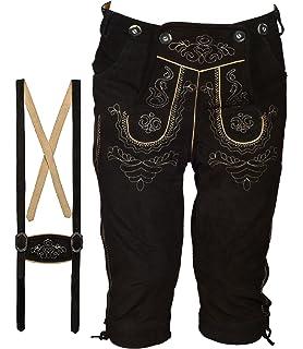 Pantalon court en cuir pour costume folklorique pour homme Longueur genou  avec bretelles - Disponible en 28948b89266