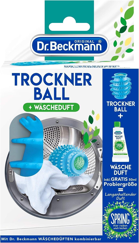 Bola para la secadora Dr. Beckmann, incluye 50ml de fragancia para la ropa (bola para la secadora con tecnología de láminas y puntos, ropa, secadora, tejidos, fragancia)