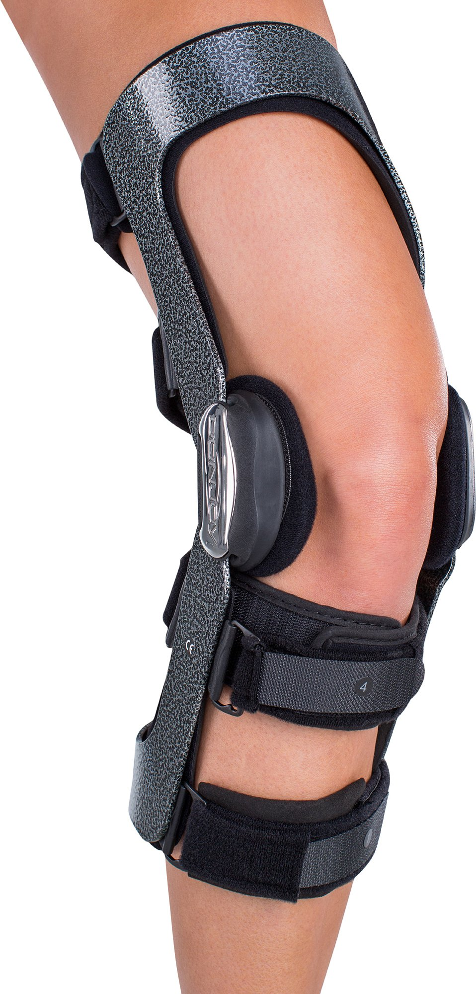 DonJoy Armor Knee Support Brace with FourcePoint Hinge: Standard Calf Length, Right Leg, Large
