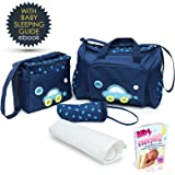 Baby Diaper Bag, Large Diaper Bag with Small Travel Nappy Bag, Changing Pad & Baby Bottle Bag, Multi-Function Waterproof Tote Bag For Mom. A Perfect Baby Shower Gift.(Dark Blue)