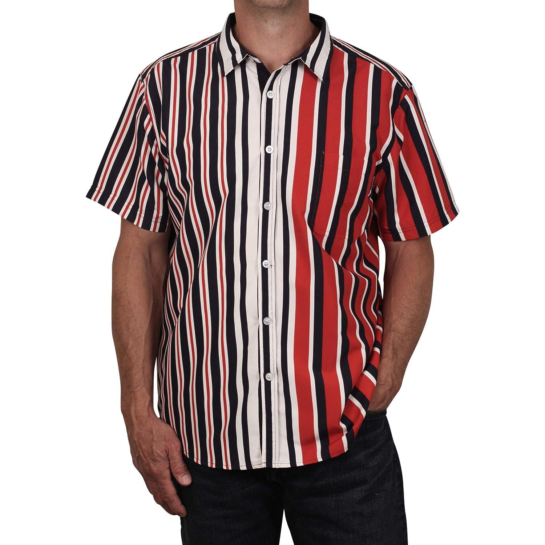 Switch Vertical Stripe Button Front Microfiber Shirt