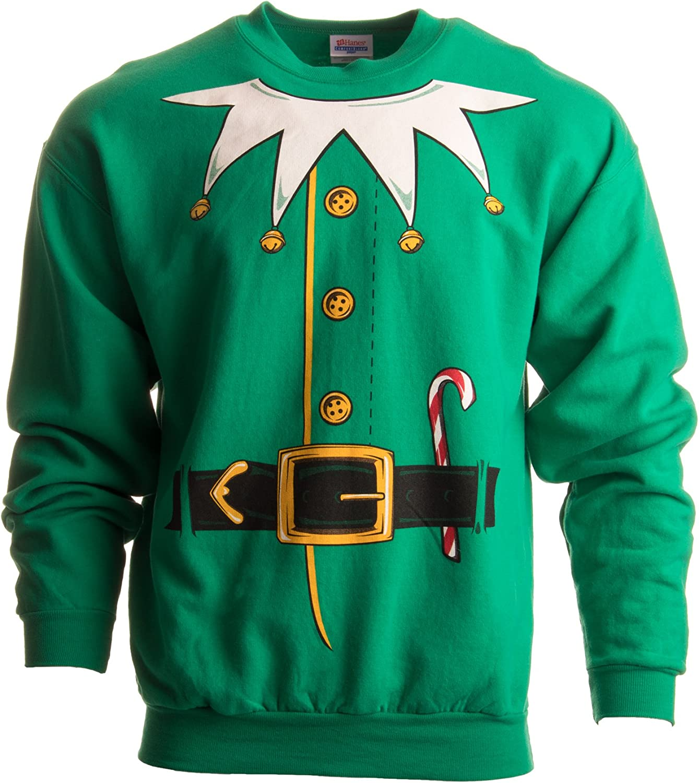 Santa's Elf Costume   Novelty Christmas Sweater, Holiday Crewneck Sweatshirt