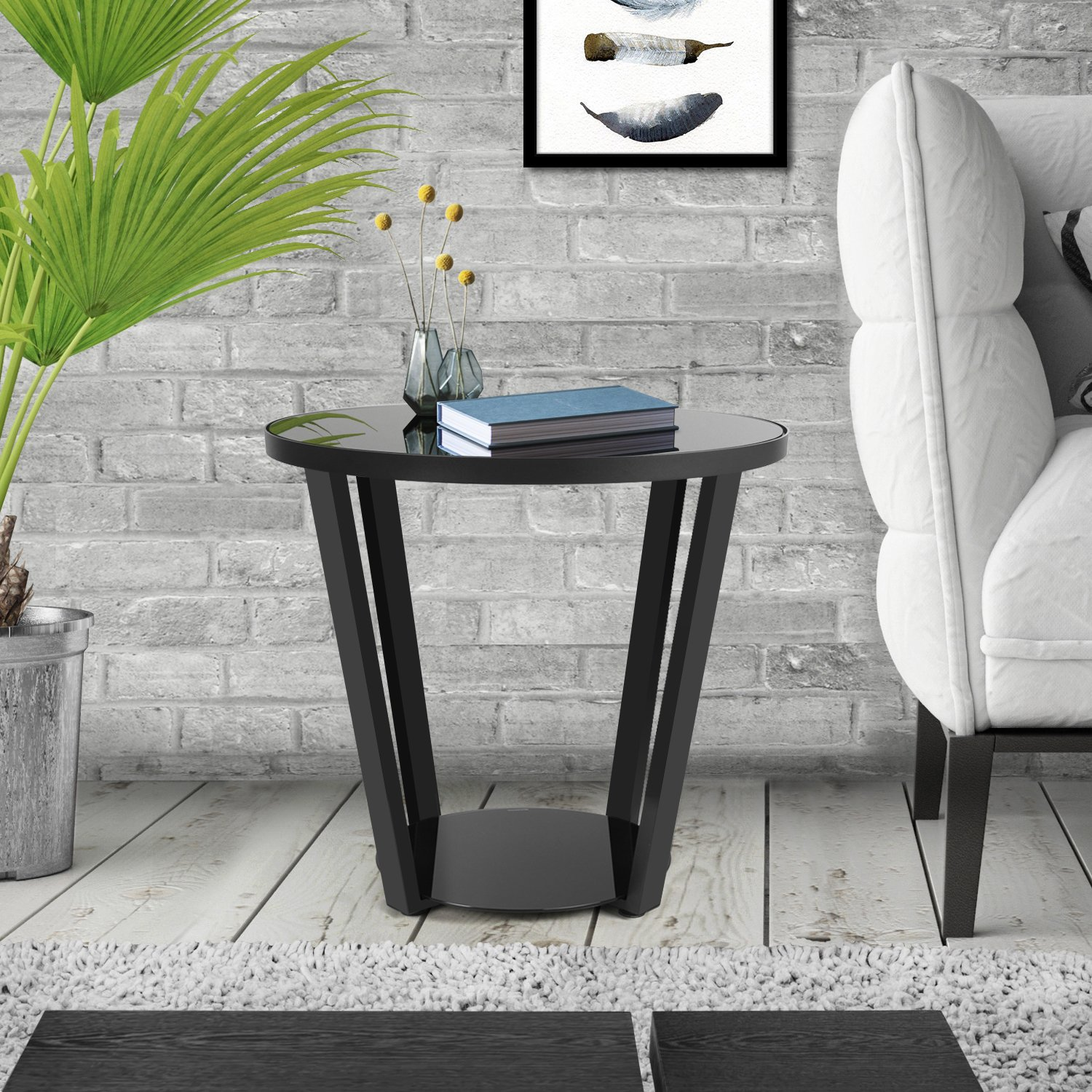 Lifewit Round Nightstand End Table Coffee Snack Sofa Side Table