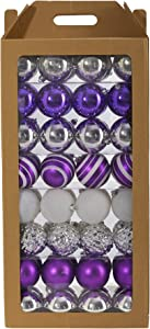 Nearly Natural Holiday Shatterproof, 64 Count Christmas Tree Ornament Set, 80mm with Re-Useable Box, Purple