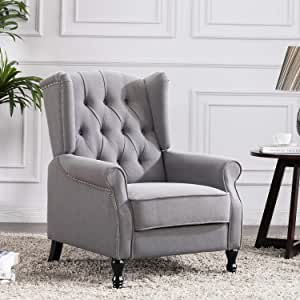 Altrobene Fabric Accent Chair, Modern Club Arm Chair, Tufted Wingback, Nailhead Trim, Wooden Legs for Living Room Bedroom Office, Light Grey