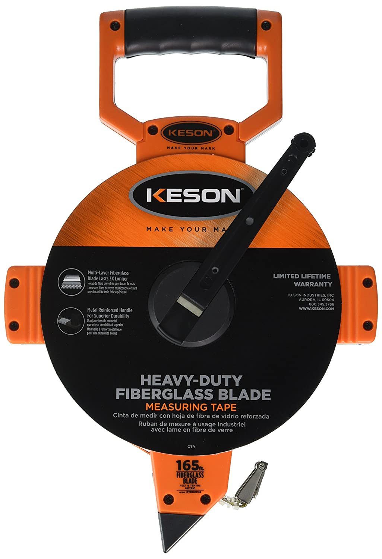 Graduations: 5mm /& 2mm 100-Meter Keson OTR100MM Open Reel Fiberglass Tape Measure Reel