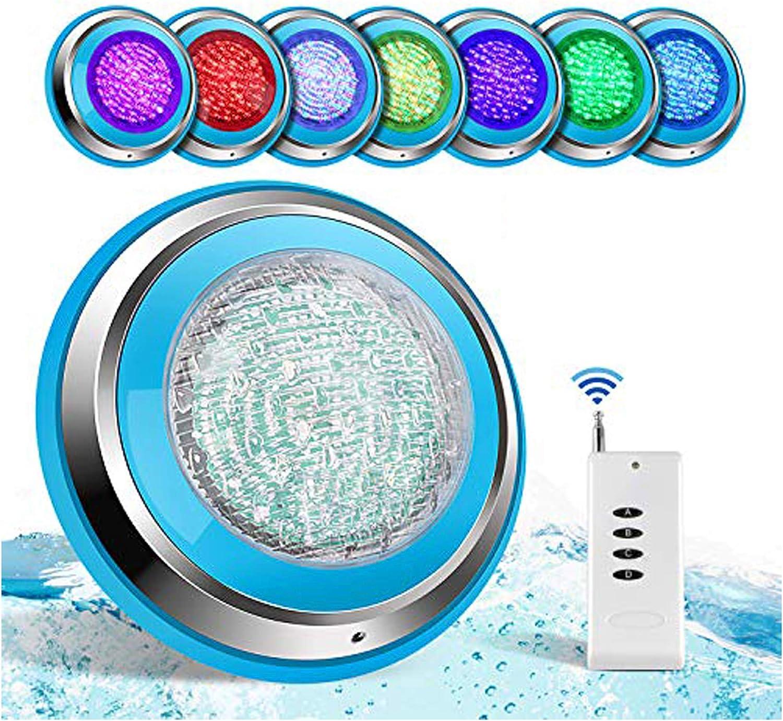 TOPLANET Led Piscina 48W RGB Luz de Piscina Iluminacion Led para Piscinas Impermeable IP68 Piscina Led Pool Light Control Remoto para Swimming Pool/Acuario Light Decoración Wall Mounted