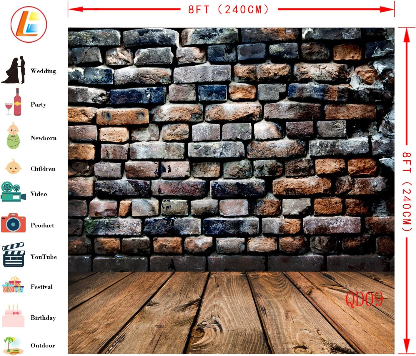 LB Black Brick Wall Background for Photography 10x10ft Vinyl Wood Floor Photography Backdrops for Wedding Smash Cake Birthday Party Portraits Photo Booth Backdrop