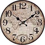 """Upuptop 16"""" Faded Rustic Old Design Wall Decor Round Wood Clock with Vintage Antique Map Pattern"""