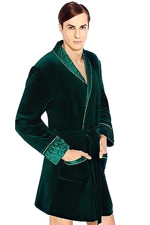 Wanmar Mens Luxury Housecoat Dressing Gown Bathrobe, Knee Length at ...
