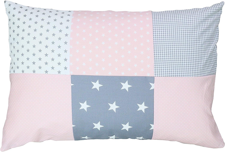 Funda de almohada para bebé de ULLENBOOM ® de 40x60 cm con rosa gris (con cremallera; apta también para cojines decorativos; dibujo:patchwork)