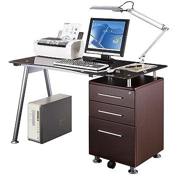 techni mobili computer desk amazon rta products with storage mahogany canada stylish brown tempered glass top chocolate