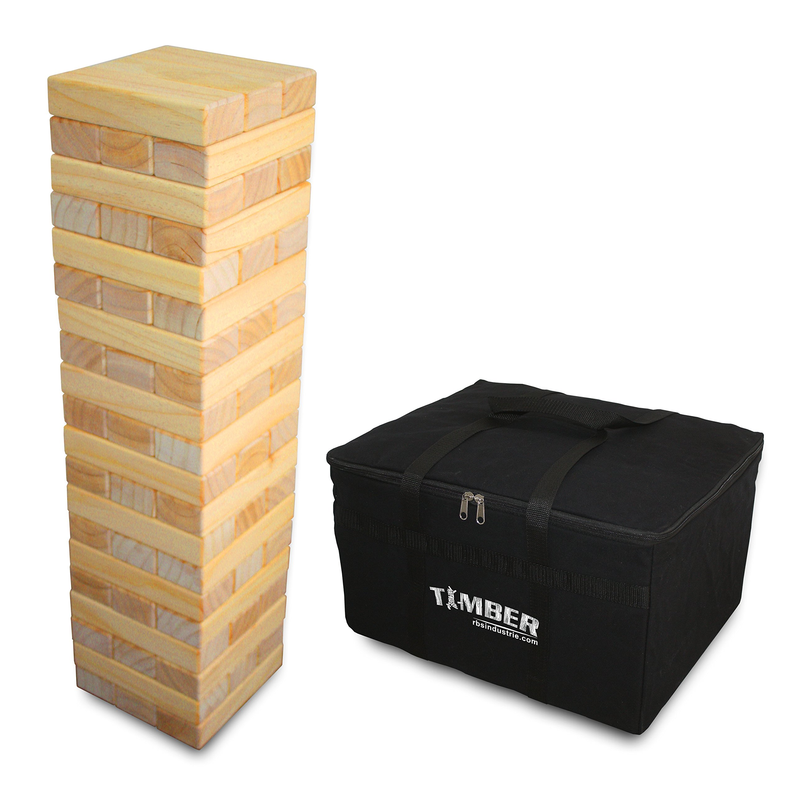 Giant Timber - Jumbo Size Genuine Hardwood Game - Ideal for Outdoors - Perfect for Adults & Kids 8Yrs+ - 60 XL Pcs 7.5 x 2.5 x 1.5 Inches - Over 5 Feet Big
