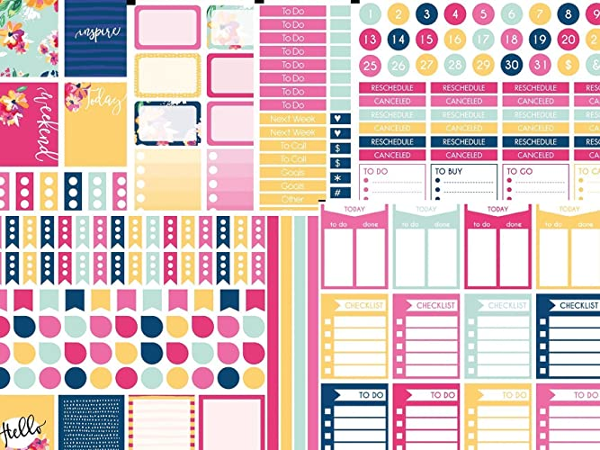 Flower planner stickers kit. 6 full size sheets on matte removable sticker  paper included.