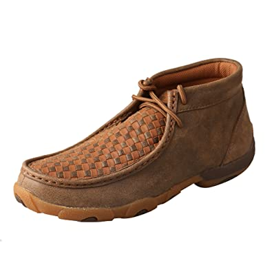 Twisted X Womens Leather Lace-Up Rubber Sole Driving Moccasins - Bomber/Tan