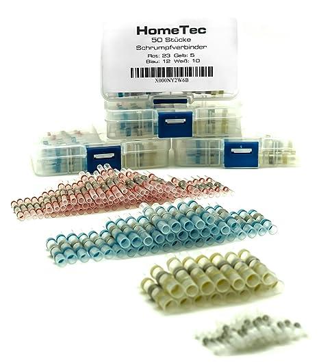 Hometec termorretráctil Conector, 50 unidades, lötverbinder para fácil prolongar de líneas, golpe Conector