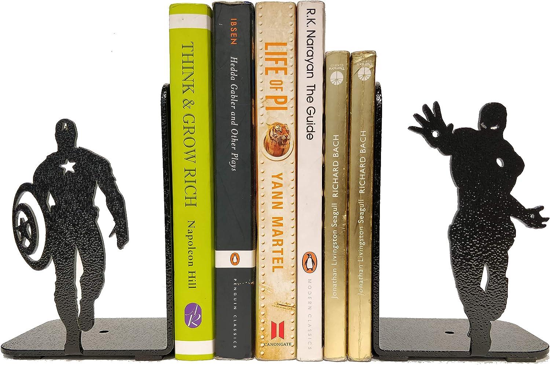 HeavenlyKraft Superheros Decorative Metal Bookend, Non Skid Book End, Book Stopper for Home/Office Decor/Shelves, 5.9 X 3.9 X 3.14 Inch Per Piece