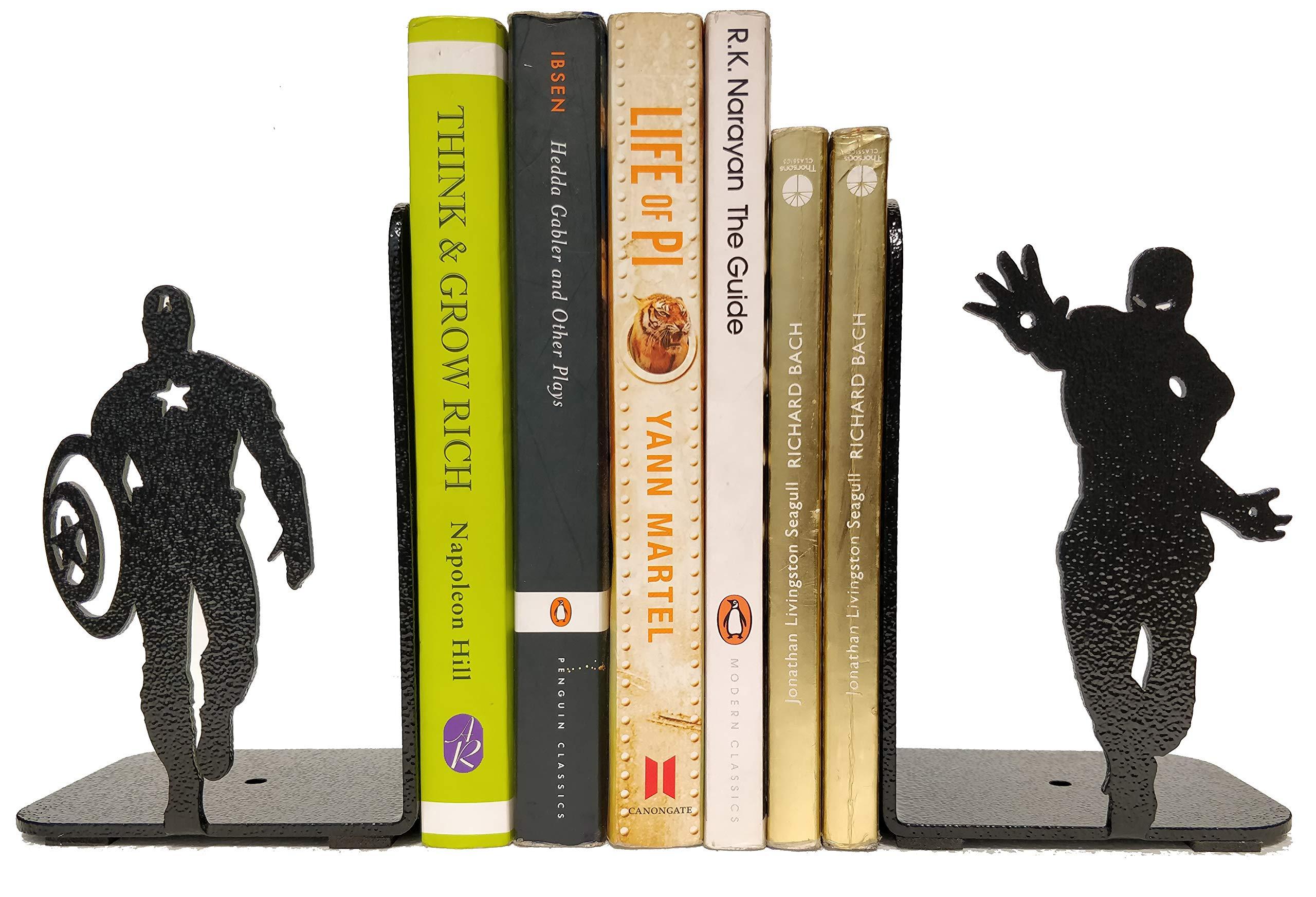 HeavenlyKraft Superheros Decorative Metal Bookend, Non Skid Book End, Book Stopper for Home/Office Decor/Shelves, 5.9 X 3.9 X 3.14 Inch Per Piece by HeavenlyKraft