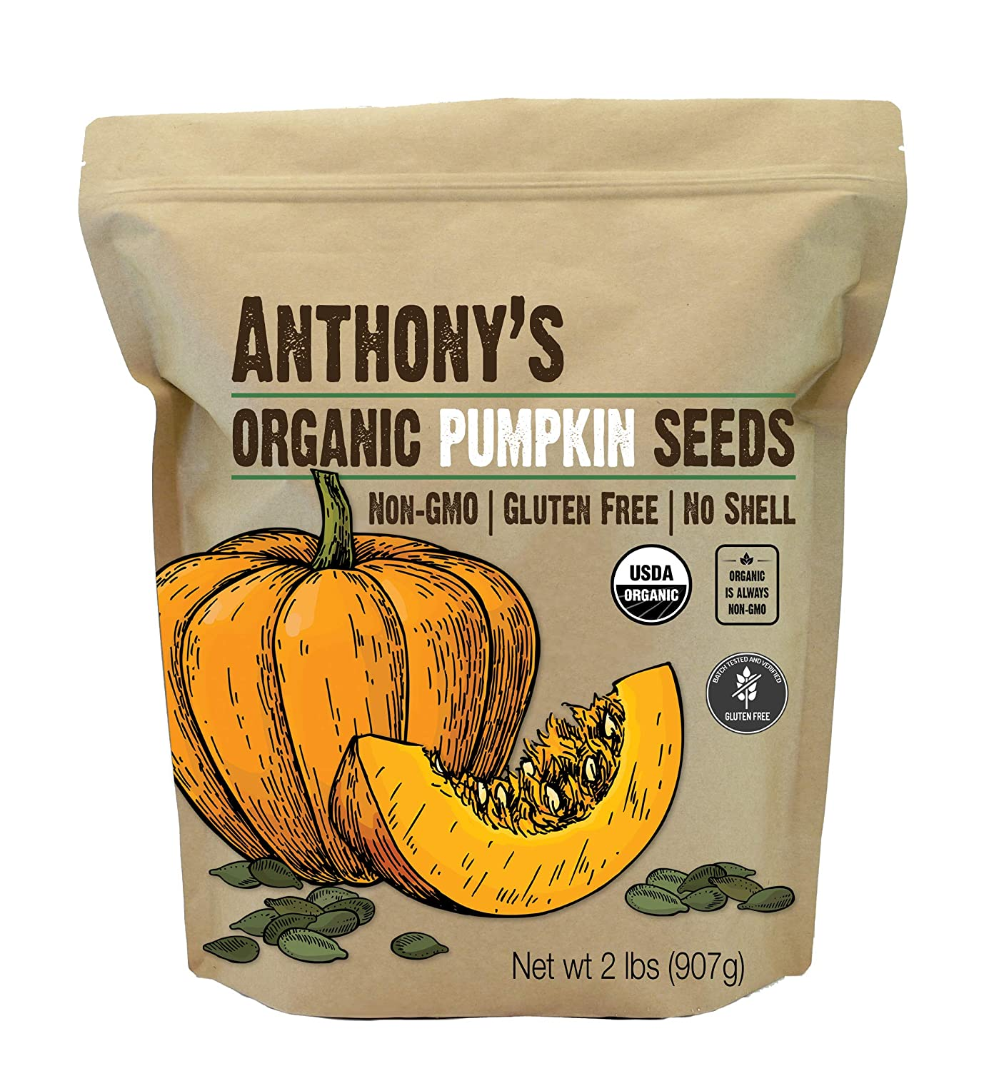 Anthony's Organic Pumpkin Seeds, 2 lb, Gluten Free, Non GMO, No Shell, Unsalted, Keto Friendly