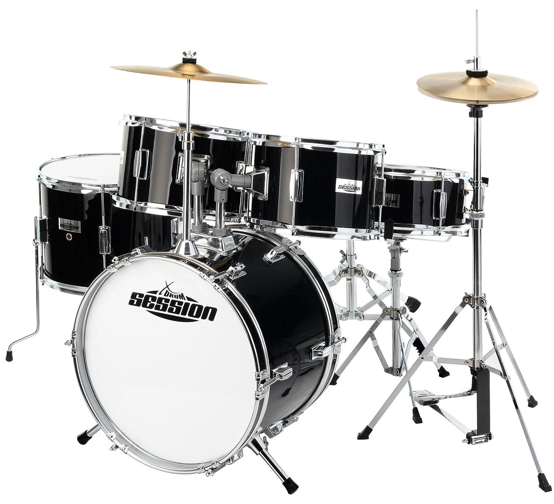 XDrum Junior Pro Kinder Schlagzeug Drumset Geeignet Von 5 9 Jahren Mit Viel Zubehor Schule DVD Schwarz Amazonde Musikinstrumente