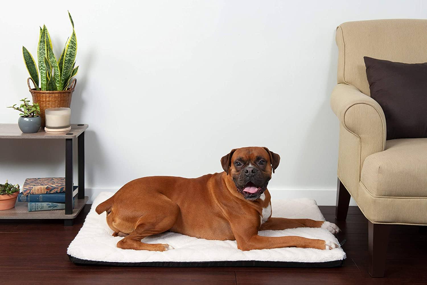 Furhaven Pet Dog Bed Kennel Pad   Orthopedic Water-Repellent Crate or Kennel Low Profile Step-On Foam Mattress Pet Bed w/ Removable Cover for Dogs & Cats - Available in Multiple Colors & Styles