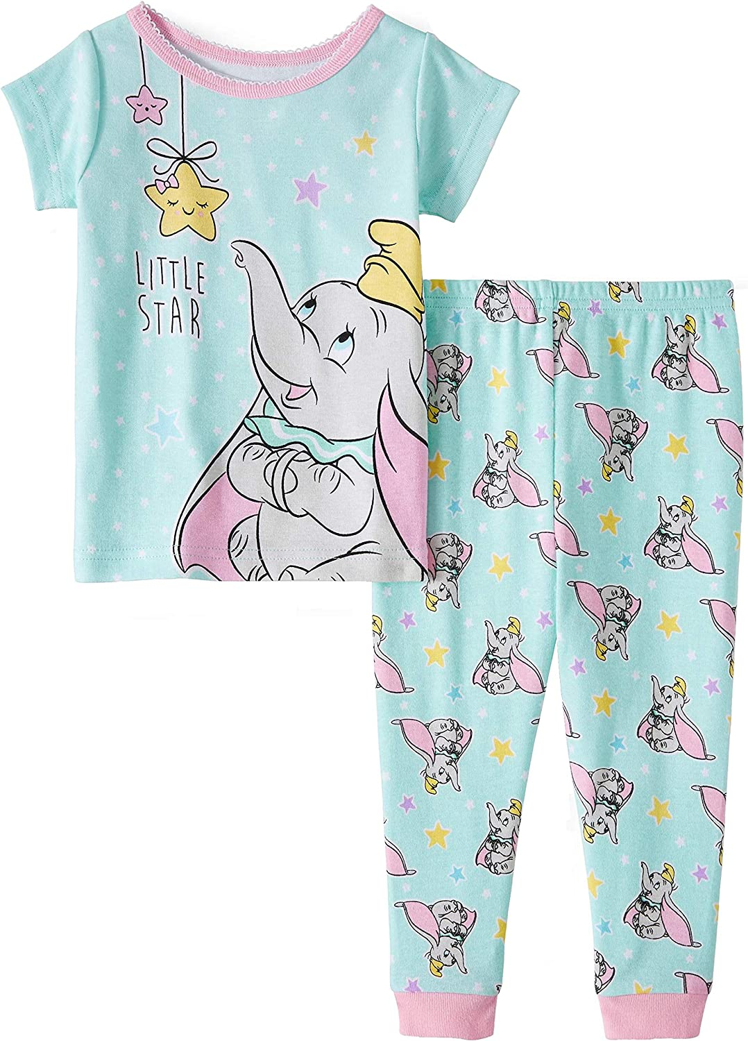 24 Months, Sweet Dreams Elephant Baby and Toddler Girls Snug Fit Graphic Pajama Long Sleeve Shirt and Pants Two-Piece Set