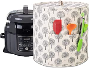 Yarwo Pressure Cooker Cover Compatible with 6.5 qt and 8 qt Ninja Foodi, Small Appliance Dust Cover with Top Handle and Pocket for Attachments, Tree