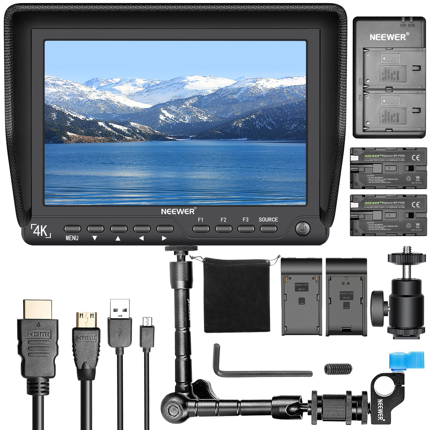 Neewer NW-S7 7 inches 4K HD Camera Field Monitor Kit:1920X1200 IPS Screen Camera Monitor, 11.8 inches Magic Arm, Dual Battery Charger, 2 Packs F550 Replacement Battery for Sony Canon Nikon Olympus Pentax 90090269