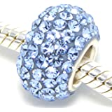 925 Solid Sterling Silver with Crystals Charm Bead