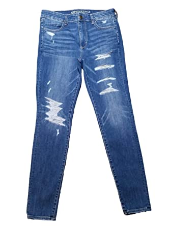 ae2543d1cd7 American Eagle HI Rise Jegging Jeans Super Stretch X Medium Wash Slasher  Blue Ripped Regular Inseam