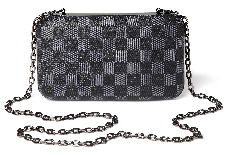 71f084db68 Daisy Rose Checkered Minaudiere Evening bag - RFID Blocking Cross body  clutch -PU Vegan Leather (BLACK)  Handbags  Amazon.com