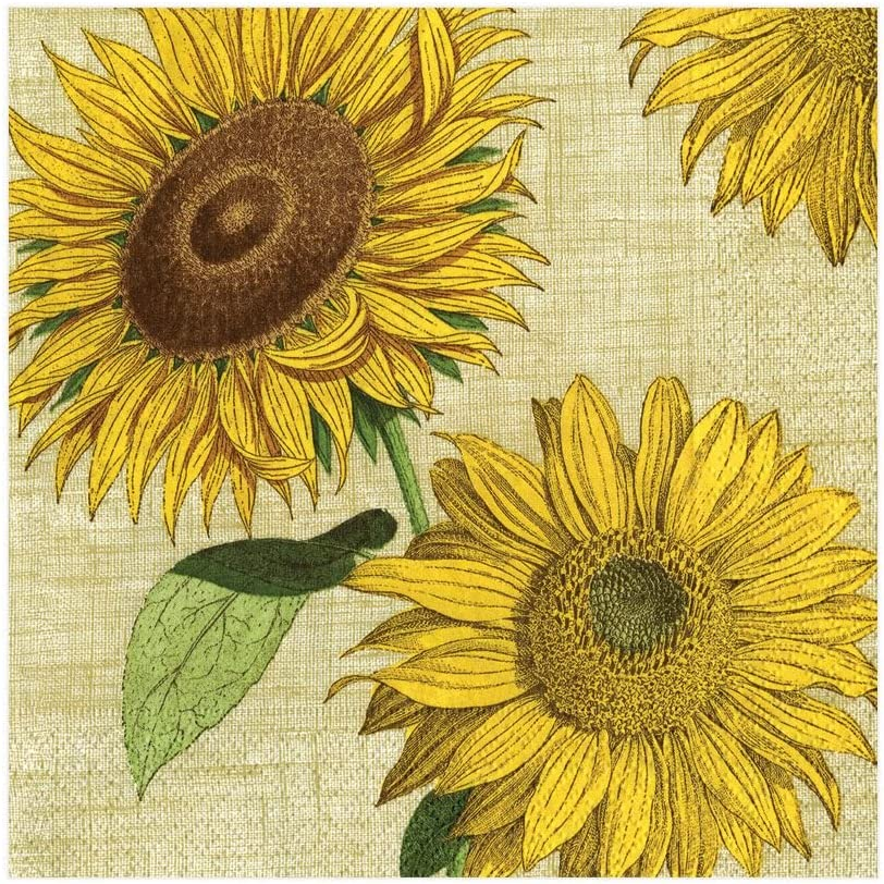 Sunflowers Under The Sun 3-ply 33 x 33cm 4 Individual Napkins for Craft and Napkin Art. 4 Paper Napkins for Decoupage