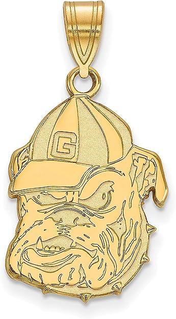 University of Georgia Bulldogs School Mascot Head Pendant Gold Plated Silver
