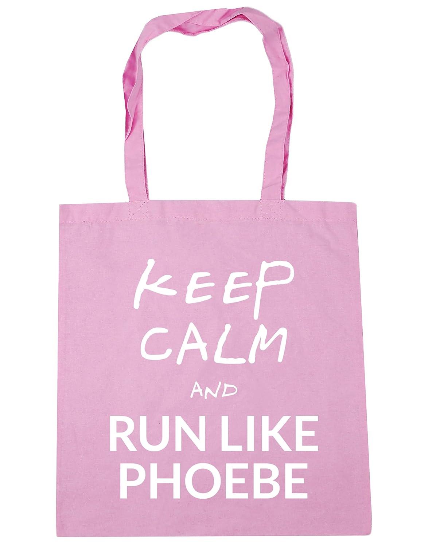 HippoWarehouse Keep Calm and Run Like Phoebe (Mantén la calma y corre como Phoebe) Bolso de Playa Bolsa Compra Con Asas para gimnasio 42cm x 38cm 10 litros capacidad 16175-TOTE-Yellow