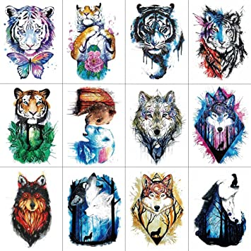 7ceee8ec4 Image Unavailable. Image not available for. Color: WYUEN 12 PCS Arm Animals Tattoos  Temporary Tattoo Sticker for Women Men Fashion Body Art Waterproof