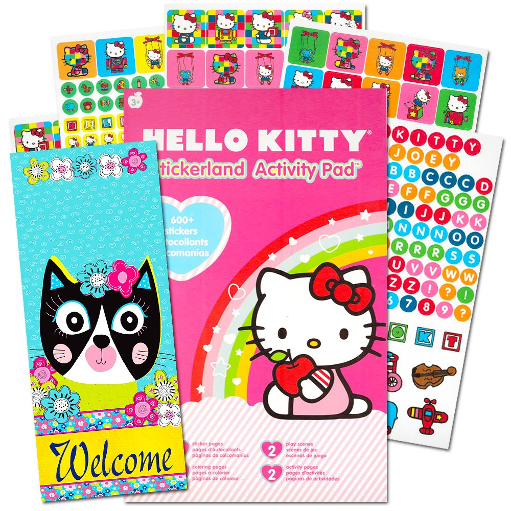 Amazon com hello kitty stickers set over 300 hello kitty stickers activity pages and door hanger hello kitty party supplies toys games