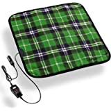 Zento Deals Heated Travel Car Pad 12V Green Plaid Premium Quality Electric Warm Pad, Relieves Back Pain, Fleece Material…