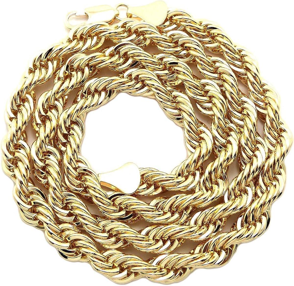 Gold-Tone 1.6-24 NYFASHION101 8.3mm 24 Unisex Hip-Hop Fashion Rope Chain Necklace
