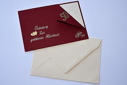 10 Einladungskarten Zur Goldenen Hochzeit Incl Passendem Umschlag Handarbeit