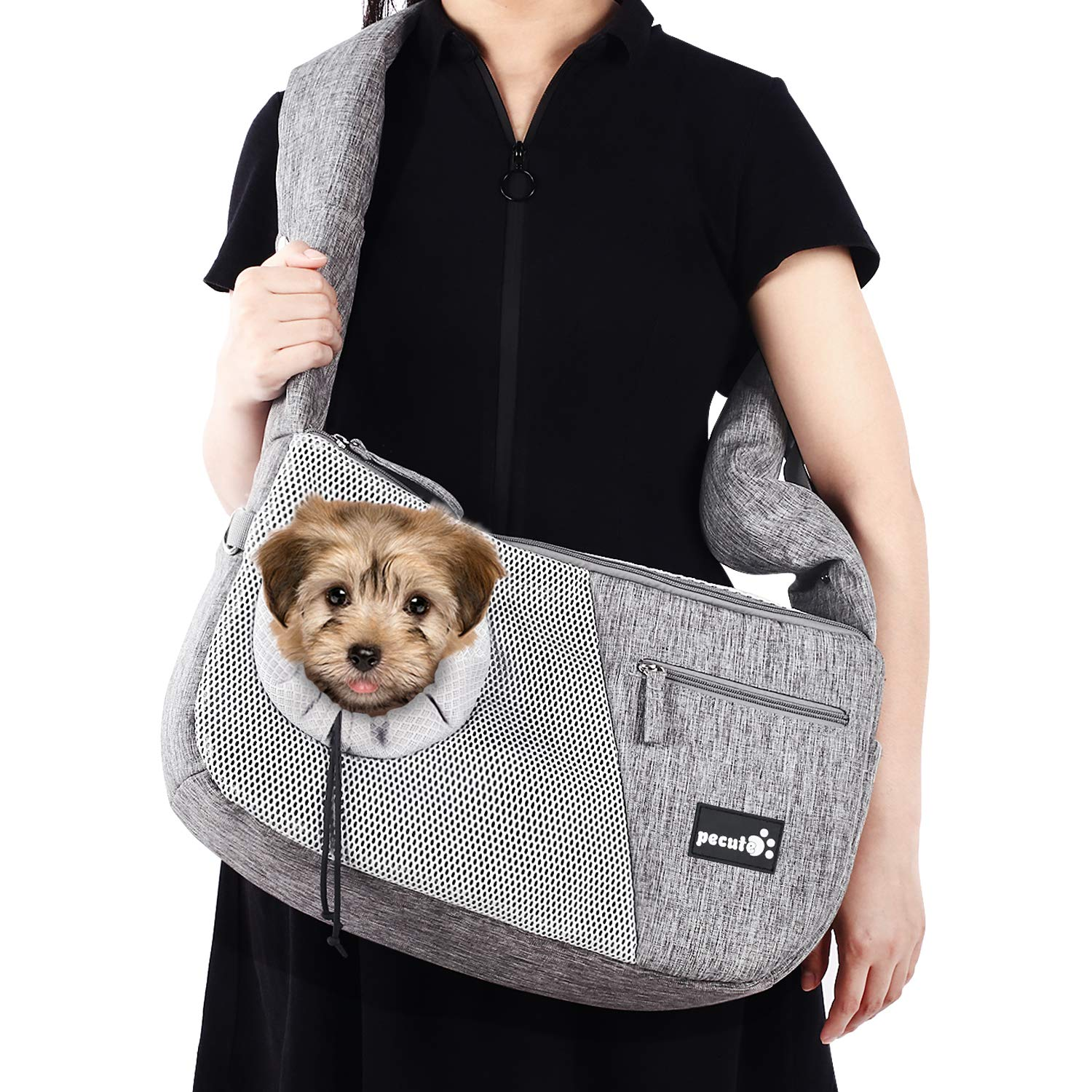 Pecute Pet Sling Bag Carrier, Small Dog Cat Carrier with Breathable Window Comfortable Decompression Hand Free Pet Puppy Outdoor Travel Bag Tote Reversible, Maximum 15kg Price: $36.99
