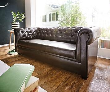 Couch Chesterfield Braun 3-Sitzer Sofa Abgesteppt Gepolstert ...