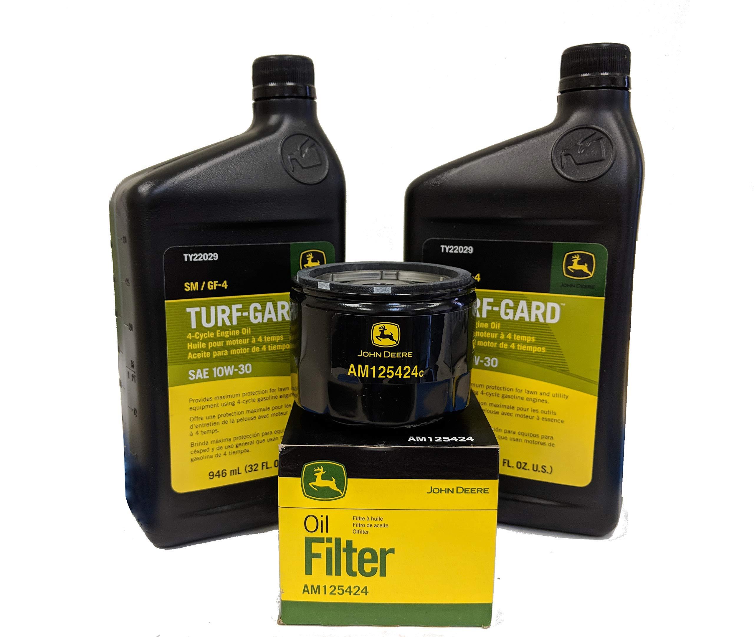 2 Quarts John Deere Turf-Gard SAE 10W-30 Oil Plus AM125424 Filter. Fits Many Lawn Mowers - Check Description