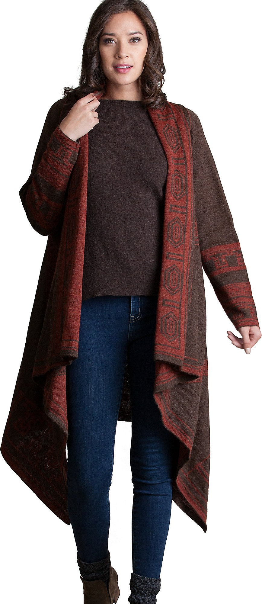 Overland Sheepskin Co. Serenity Reversible Peruvian Alpaca Wool Open Sweater Cape, Brick/Brown, Size Large/XLarge (12-18)
