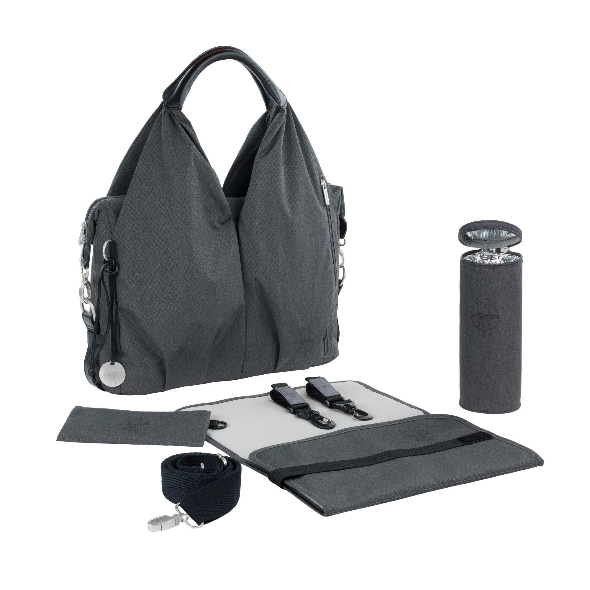 LÄSSIG Baby Wickeltasche nachhaltig inkl. Wickelzubehör/Green Label Neckline Bag, spin dye black product image