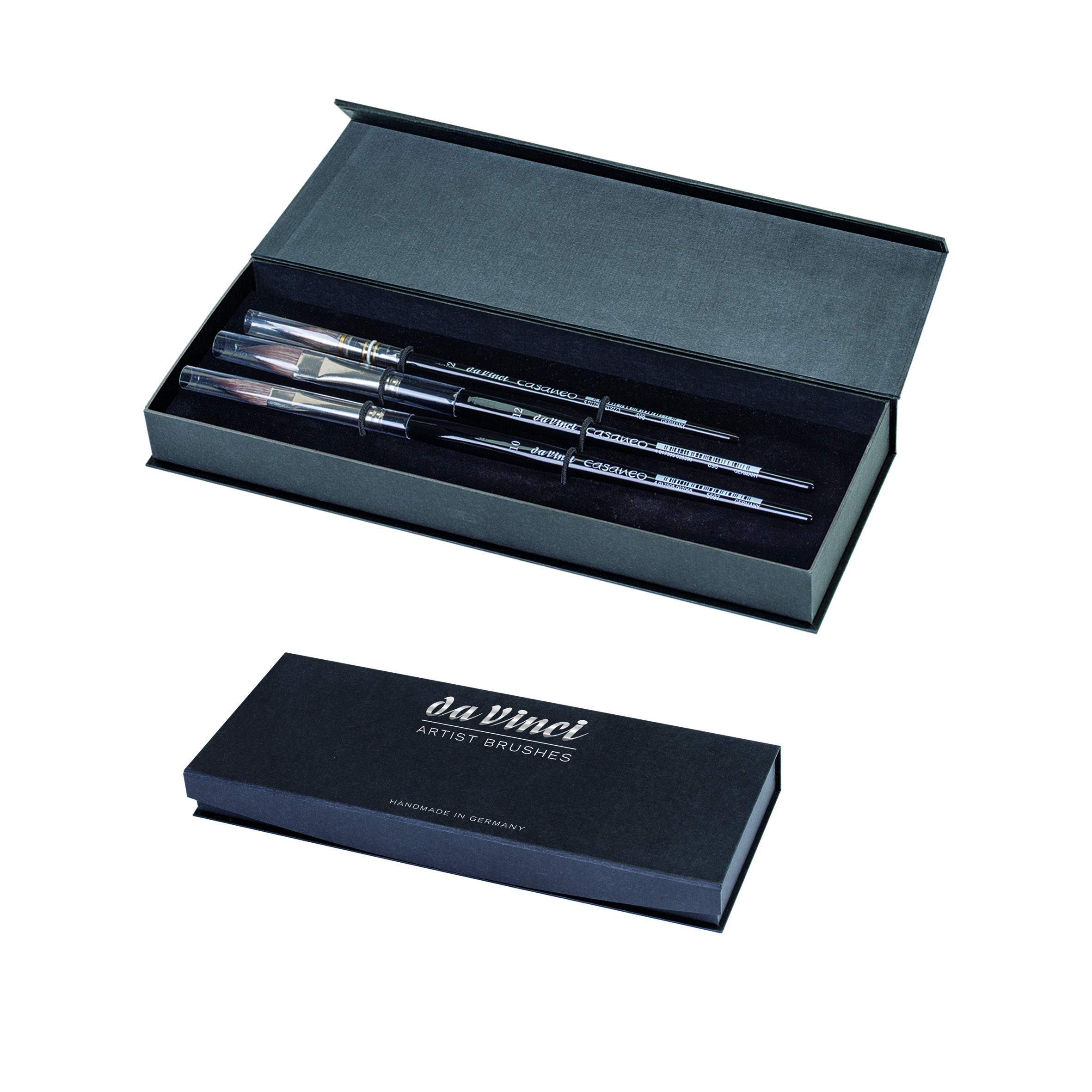 da Vinci Brushes 4250DV Watercolor Brush Set, Quill Size 2, Slant Size 10, Oval Size 12, Black 3 Each by da Vinci Brushes
